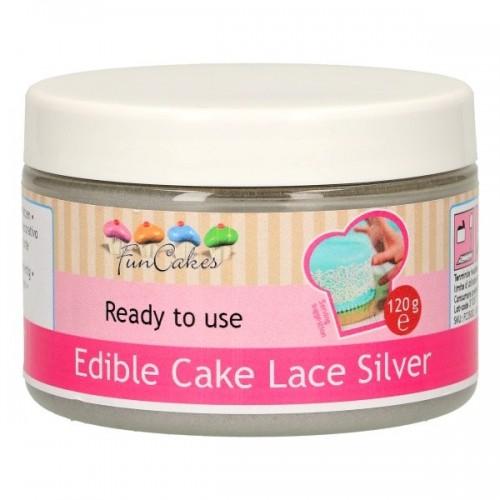 FunCakes Cake Lace - jedlá krajka hotová - stříbrná  120g