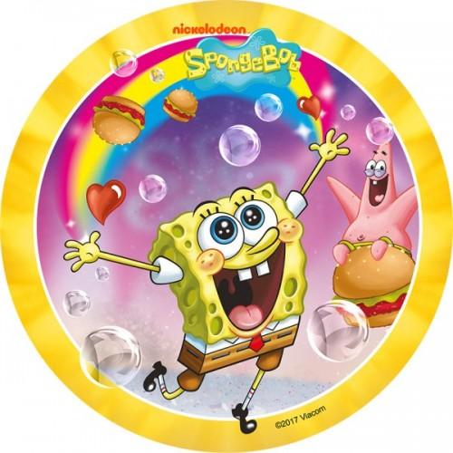 Jedlý papier karta guľatý -  Sponge Bob - žltý