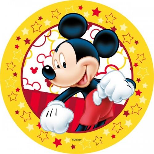 Jedlý papier karta guľatý - Mickey Mouse - žltý