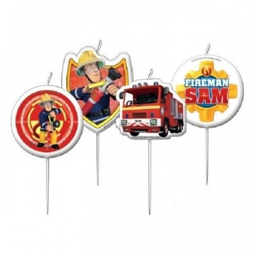 Torten Kerze Mini - fireman SAM - 4 Stück
