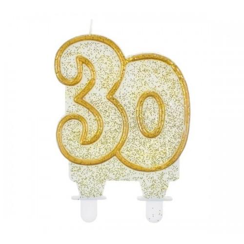 Tortová sviečka jubilejná  zlatá - 30