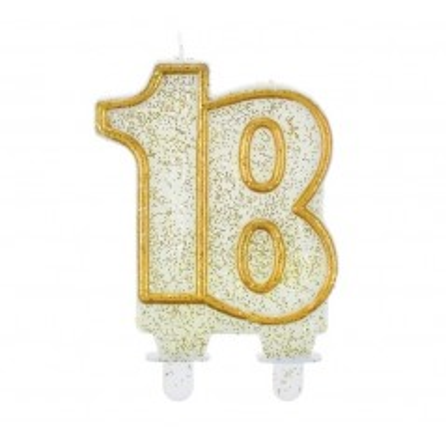 Dortová svíčka jubilejní zlatá  - 18