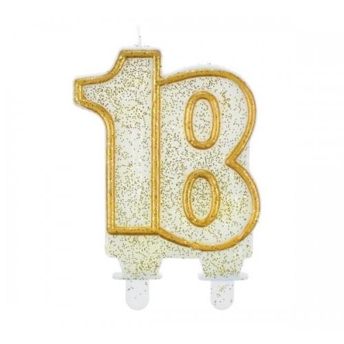 Tortová sviečka jubilejný zlatá - 18.