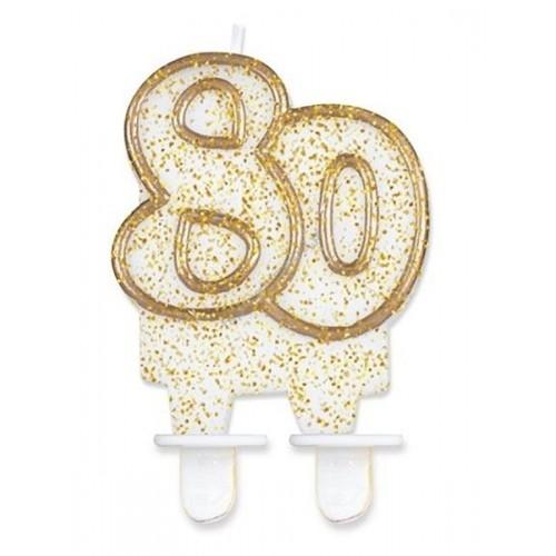 Tortová sviečka jubilejna zlatá - 80.