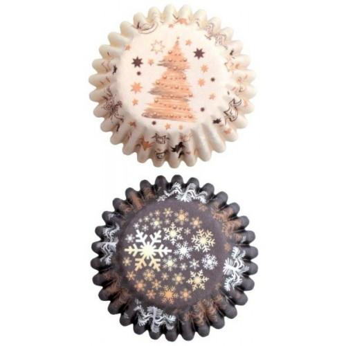 Cukrárske košíčky MINI na pralinky - hnedé vianočné - 50ks