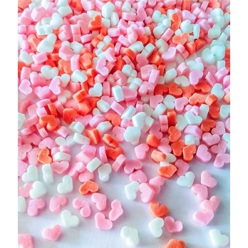 Zucker Dekorieren -  Herzen pink / rot / weiß - 50g
