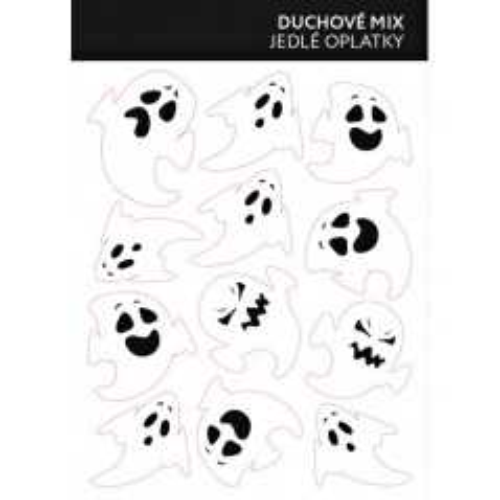 Jedlý papír karta - duchové mix 12ks