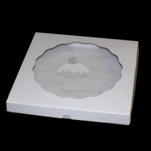 Krabička  s průhledným víkem EXTRA pevná - bílá - 28 x 28 x 10cm