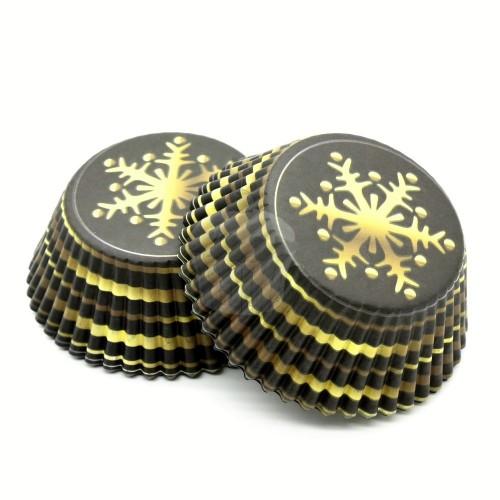 Cukrářské košíčky - hnědý se zlatou vločkou - 50ks