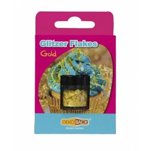 DecoCino Jedlé trblietky - vločky - zlaté 2,5g