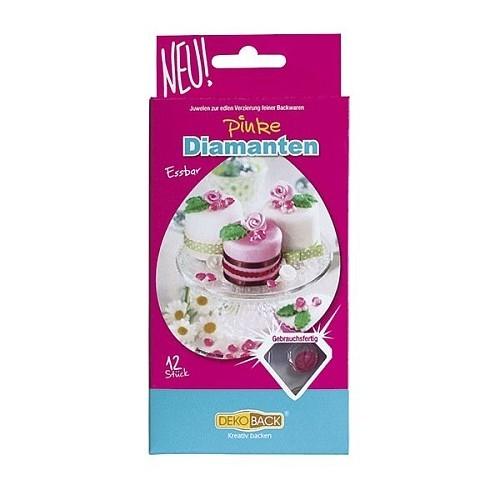 DekoBack - rosa essbare Zuckerdiamanten 12stück/10mm