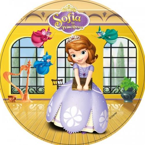 Jedlý papier karta guľatý - princezná Sofia prvá