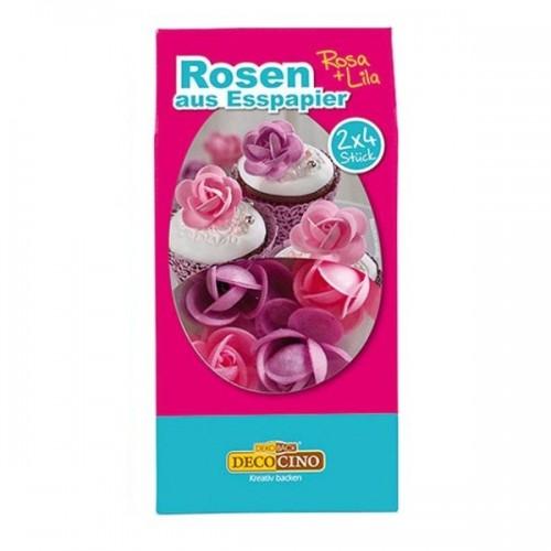 DecoCino jedlý papier - ruža ružové / fialové 2 x 4ks