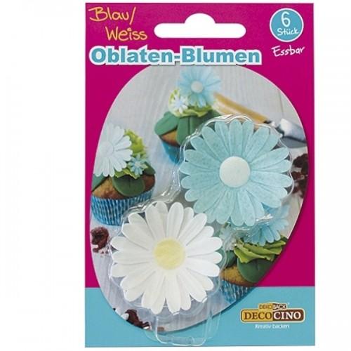 DecoCino essbares Papier - Daisys - blau / weiß 6Stk