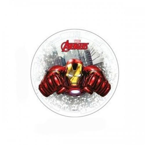 Jedlý papier karta guľatý - Marvel - Avengers - Iron man 20cm