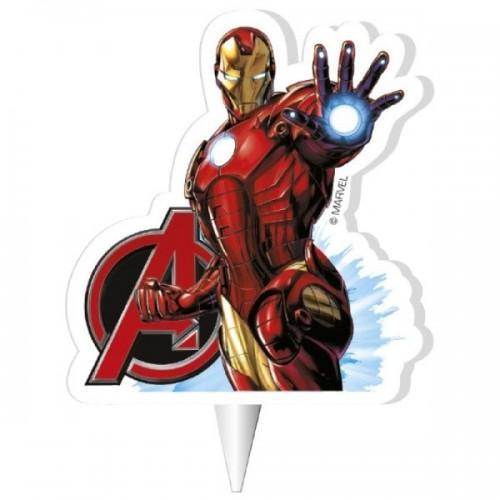 Dekora dortová svíčka - Iron Man - Avengers  - 1ks