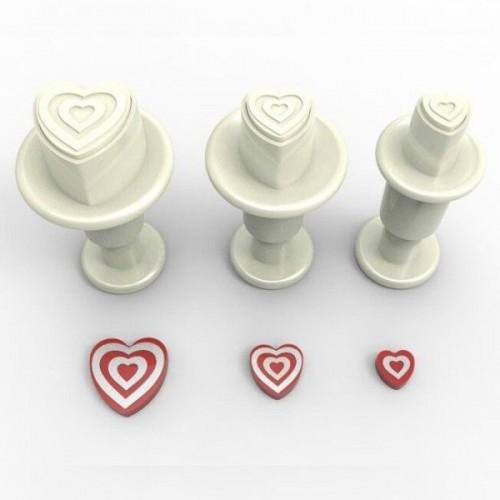 Dekofee  - vypichovače mini srdíčka pruhované - 3ks
