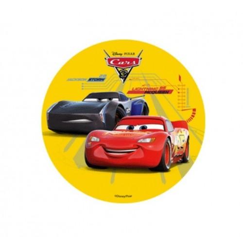 Jedlý papír kulatý - Cars - žlutý