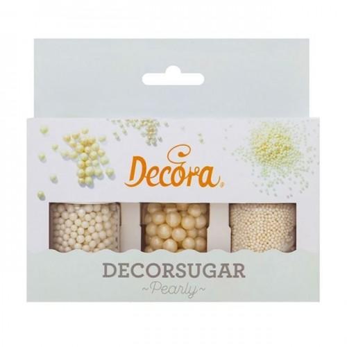 Decora - Cukrové perličky - bílá perleť - 3ks  - 80g