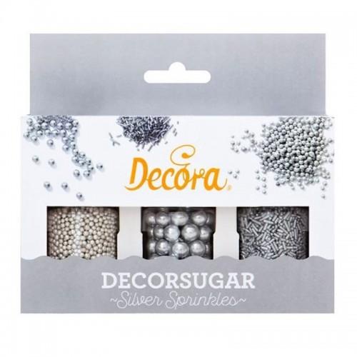Decora - Zuckerperlen - Silver Sprinkles - 3pcs - 80g