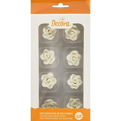 Decora - Cukrové růžičky malé - bílé - 8ks