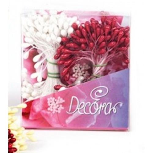 Decora květinové pestíky - střední - perleťové červené / bílé 288ks