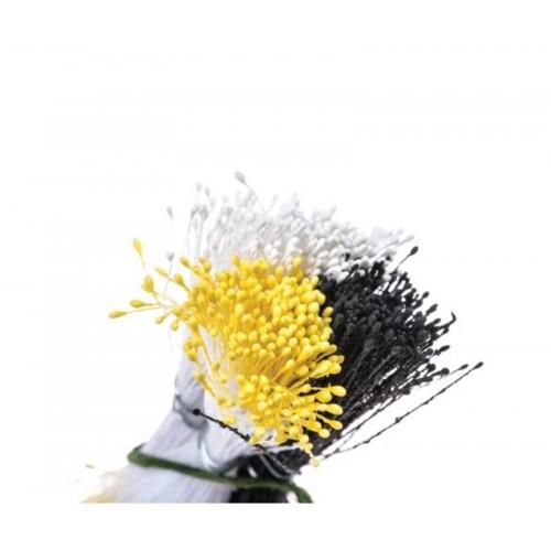 Decora květinové pestíky - malé - matné  bílé / žluté / černé  864ks