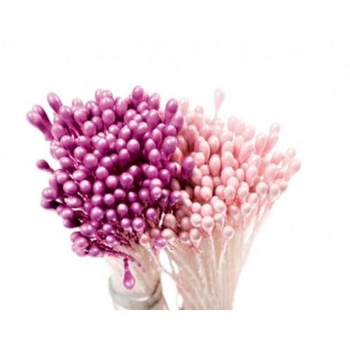 Decora květinové pestíky - střední - perleťové růžové / fialové 288ks