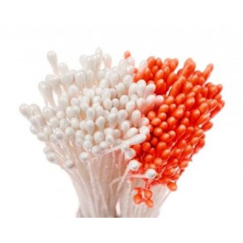 Decora květinové pestíky - střední - perleťové bílé / matné oranžové 288ks