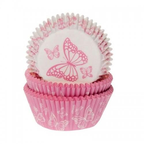 HoM cukrářské košíčky - růžový motýl - 50ks