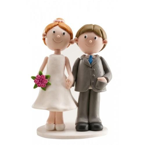 Svatební figurky - ženich a nevěsta se drží za ruce 13cm