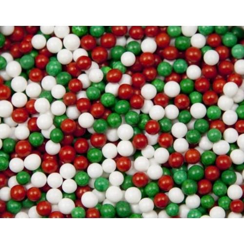 BaKery Cukrové perličky - máček - červený / bílý / zelený - 50g
