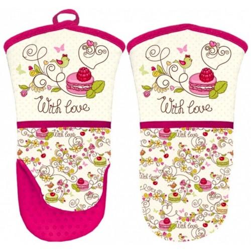 Kuchyňská rukavice se silikonovou dlaní - Makronky  růžové