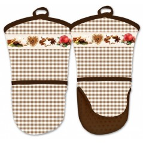 Kuchyňská rukavice se silikonovou dlaní - vánoce hnědé
