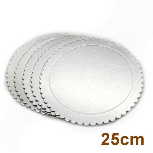 Sada 5ks podložky pod dort stříbrné - kulaté - 25cm