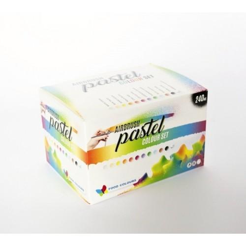 Sada airbrushových pastelových barev a čističe Food Colours (12 ks)