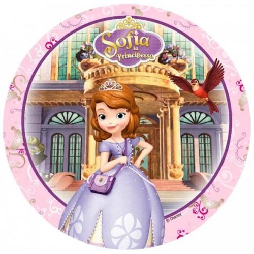 Essbare Papier Round - Prinzessin Sofia die Erste - rosa