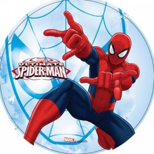 Jedlý papier karta guľatý - Spiderman