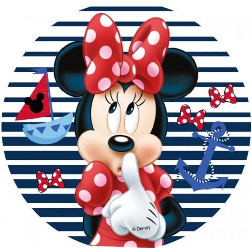 Jedlý papír kulatý - Minnie - pruhy