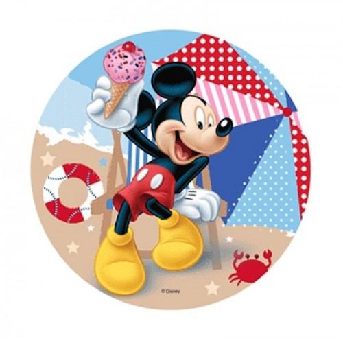 Jedlý papír kulatý - Mickey Mouse - pláž