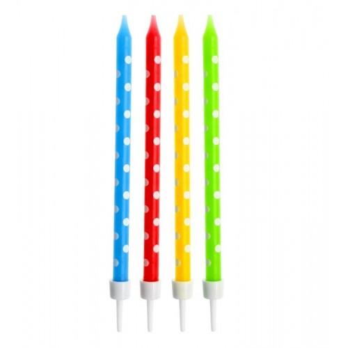 Tortová sviečka bodky - farebné - 24ks