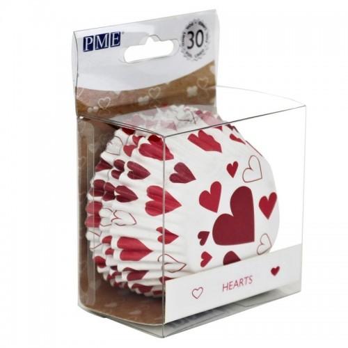 PME-Folie ausgekleidete Backförmchen - Herz - 30-tlg