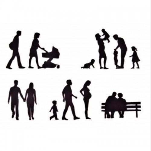 Ausstecher Patchwork - Familien Silhouetten 11St