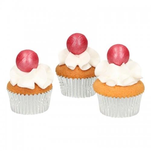 FunCakes pearl choco balls dark pink - dunkle pink - 8st