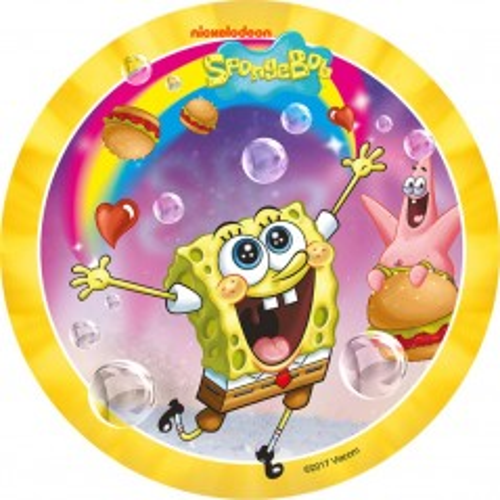 Jedlý papier karta guľatý - SpongeBob