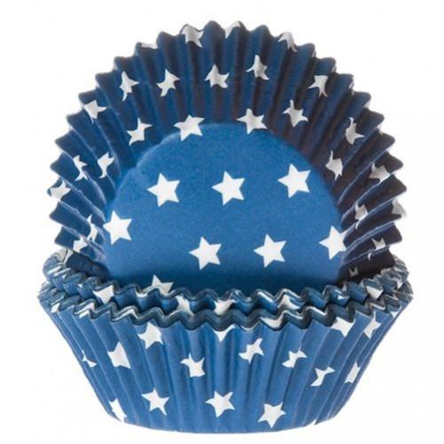 HoM baking cups star blue 50pk