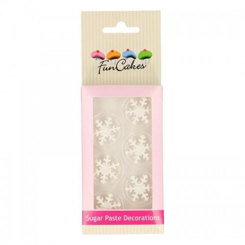 FunCakes Sugar paste decorations - Ice Crystal silver set / 6