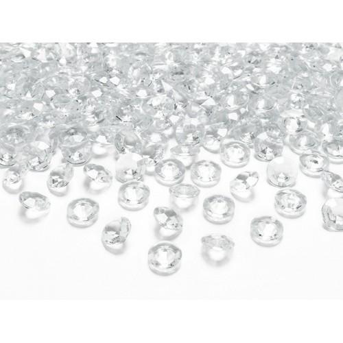 PartyDeco dekorative Diamanten - transparent - 100 Stück