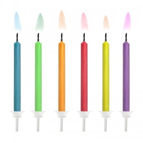 PartyDeco sviečky s farebným plameňom - 6ks