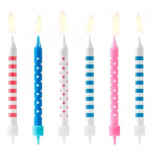PartyDeco narozeninové svíčky - pruhy / tečky - modré / růžové 6ks
